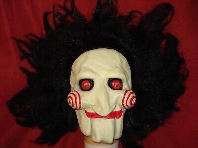 Jigsaw Mask Billy Jig Saw - Full Latex w/ Hair Scary Creepy Clown Prop - Cosplay