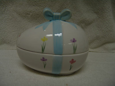 VINTAGE LARGE EASTER EGG CANDY CONTAINER W/BOW/FLOWERS ON TOP FREE SHIPPING