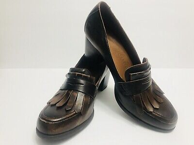 BORN Brown Leather Penny Loafer High Heels Pumps Moccasin Toe Shoes. Size: 10