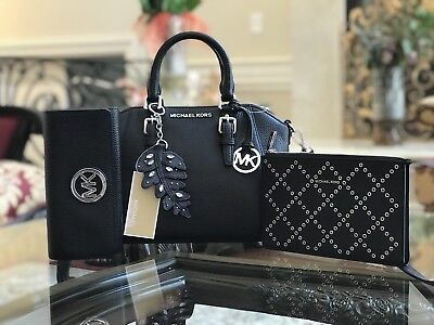 NWT,4PCS MICHAEL KORS CIARA MEDIUM CROSSBODY HANDBAG+KEY CHARM+WRISTLET+WALLET