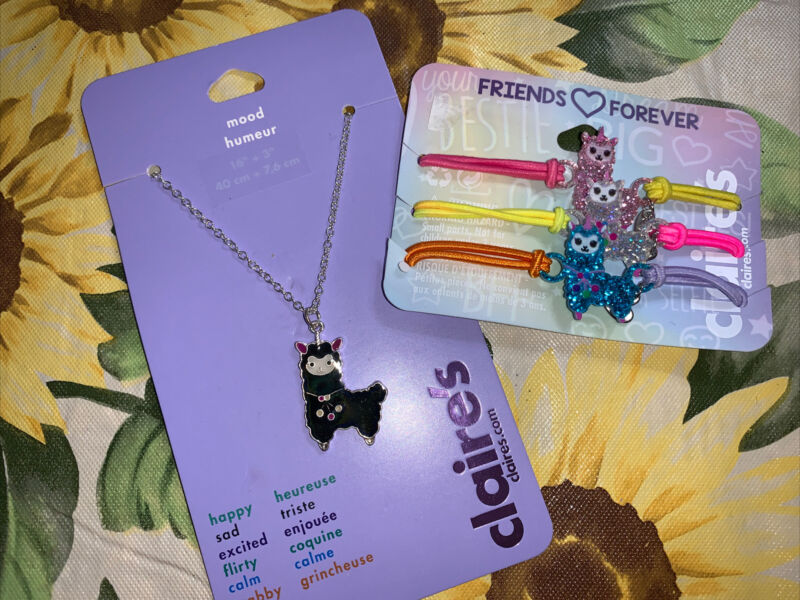 Claire's Mood Llama Unicorn Necklace Bff Best Friend Bracelet Jewelry Lot