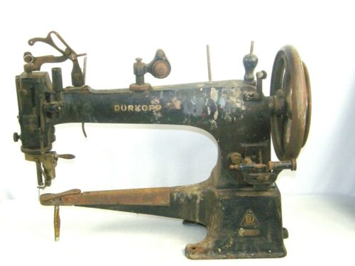 Antique DURKOPP Leather Treadle Industrial Sewing Machine Cast Iron