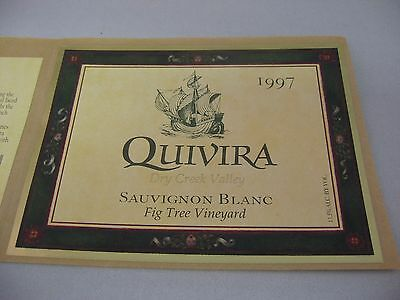 Wine Label: QUIVIRA 1997 Sauvignon Blanc Dry Creek Valley Sonoma California