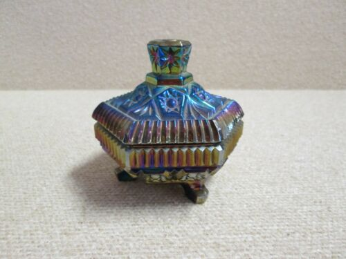 Imperial Lenox Amethyst Purple Carnival Trinket Keepsake Glass Box Dish Lidded
