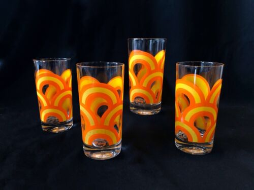 Vintage 70s MCM Retro Glasses Tall Cups Set Of 4 Orange Yellow By Colony