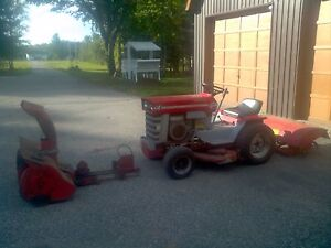 1976 M.F. garden tractor with attachments