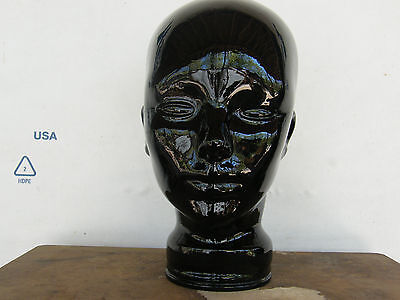 Heavy Thick Black Glass Mannequin Head; Wig or Hat Stand