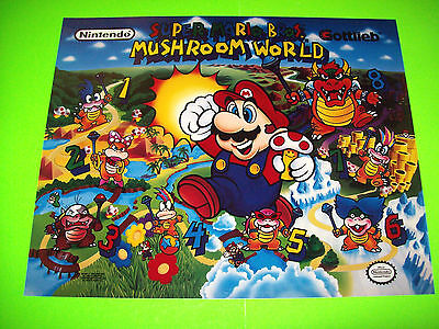 SUPER MARIO BROS Mushroom World Gottlieb Pinball Machine Translite Art 1992 NOS
