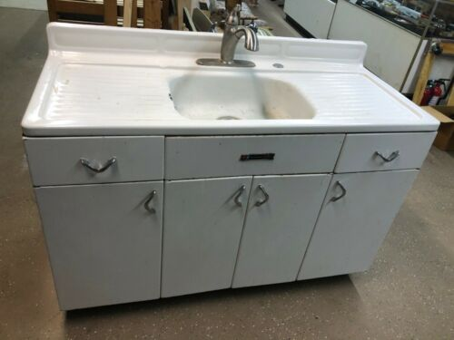 """Vintage youngstown White porcelain 50"""" with metal cabinet kitchen farm sink"""