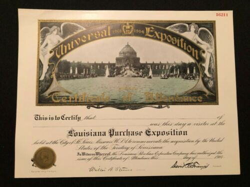 LOUISIANA PURCHASE EXPOSITION CERTIFICATE OF ATTENDANCE UNIVERSAL EXPOSITION