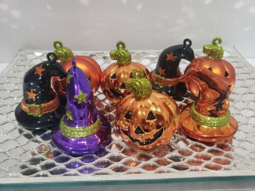 Halloween Pumpkins & Glitter Witch Hats Tree Ornaments Decorations Set of 8