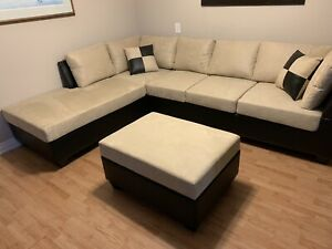 Free delivery: black/beige microfibre sectional