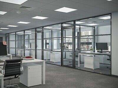 Cgp Office Partition System Glass Aluminum Wall 15 X 9 Wdoor Black Color
