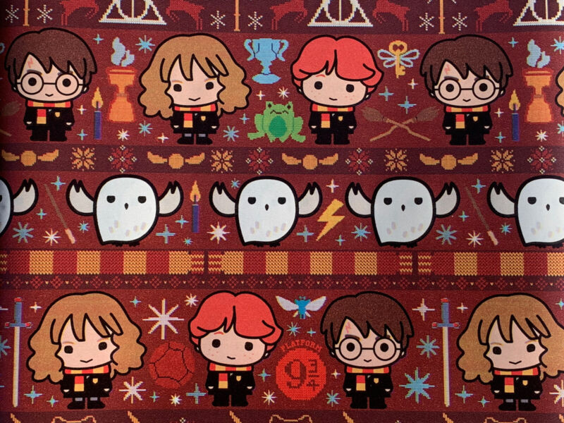 Harry Potter Wrapping Paper NEW Rare Xmas Hogwarts Gift Wrap 40 sq ft