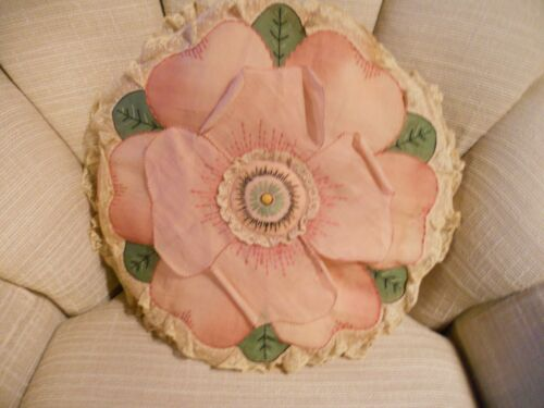 Antique/Vintage Art Deco FLOWER Throw PILLOW Embroidered Lace Boudoir Handmade