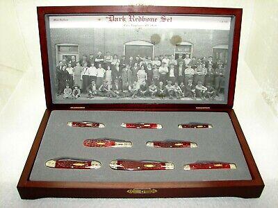 CASE XX USA,1991, CASE DARK RED BONE KNIFE SET, MINT IN THE CHERRY WOOD DIPLAY