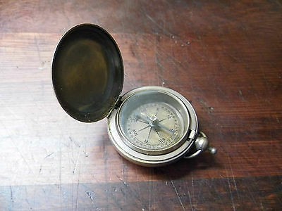 ANTIQUE VINTAGE HUNTER STYLE BRONZED BRASS POCKET COMPASS-ROSS OF LONDON-FAB!