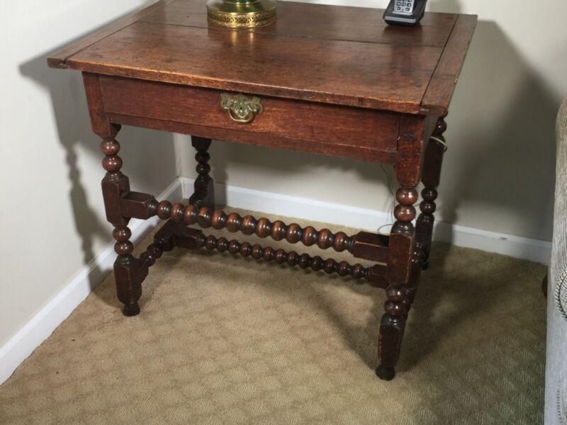 Antique English Bobbin Turned Oak Side Table