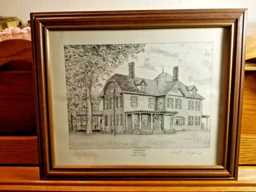 National Archives Reproduction Print Etching LAWNFIELD Home of James Garfield