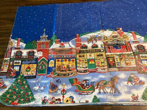 Vintage Joan Kessler Christmas Village Vinyl Tablecloth 52 x 88 Flannel Back