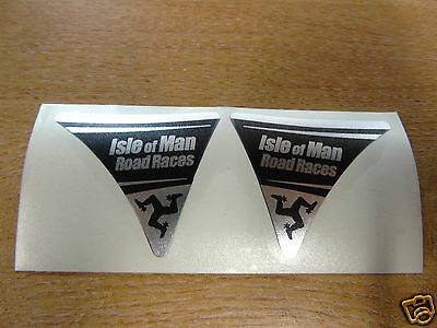 Isle of Man Road Races - TT Visor Corner Decal Sticker - BLACK & CHROME