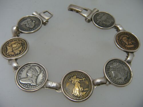 """Sterling Silver 1796 1933 Panama Pacific Lady Liberty Coin Replica Bracelet 8"""""""
