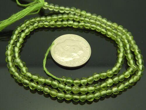 "Natural Green Peridot 2.5-3mm Smooth Round Gemstone Beads 15"" Std Bargain"