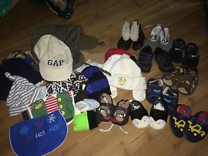 Baby hats and shoes lot