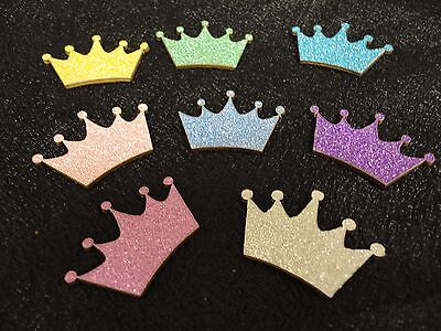 Little Princess Baby Shower Decorations (Charmed Wooden Glitter Crown Ornaments Little Prince/Princess, Baby Shower 20)