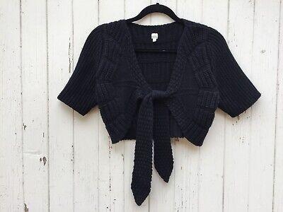 100% CASHMERE black ballerina shrug sweater cardigan knit cropped bolero tie XS Knit Bolero Shrug