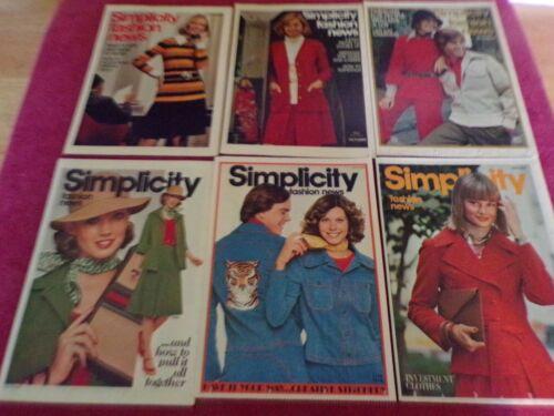 💐 LOT OF 6 SIMPLICITY FASHION NEWS - COUNTER LEAFLETS - OCTOBER 1972-NOV 1975