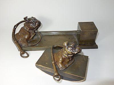 Bronze Schreibzeug mit Löschwiege Bulldog Inkstand Desk Set Bulldogge Vienna?