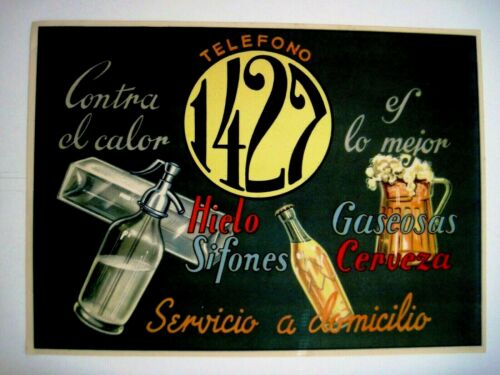 "Vintage Spain Label ""Against The Heat is the Best Ice Soda Siphons Beer"" *"