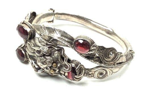 "VTG Sterling Silver Ornate Chinese Dragon Bangle Bracelet w/Rhodalite Garnets 7"""