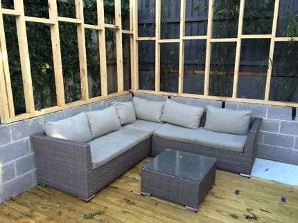 Outdoor 4 piece lounge with table - brown and cream Lilyfield Leichhardt Area Preview