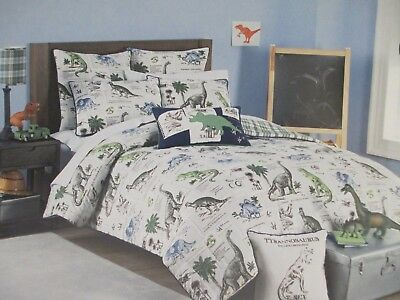 Comforter Set Bear Plaid - RUGGED BEAR Kids 5pc DINOSAUR Blue Green Plaid Comforter Pillow Set - Full/Queen