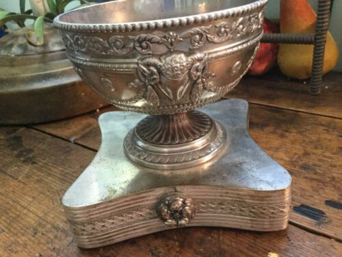 Antique Vintage Silver Plate Bowl~Dish with Rams Heads Bows Garlands