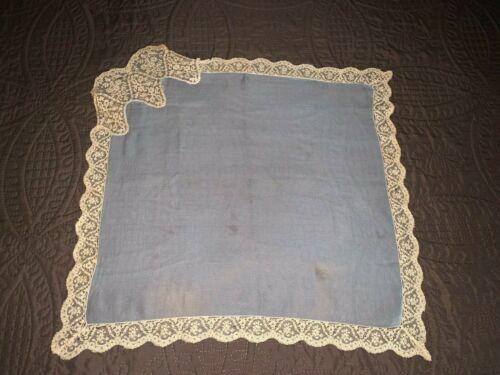 Antique C1892 Blue Silk Crepe Alencon Lace Trim Wedding Handkerchief Provenance