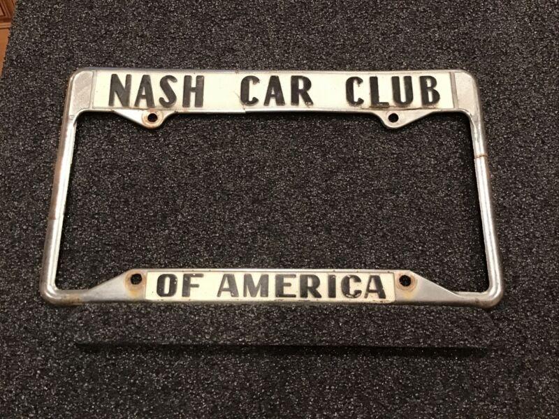 VTG NASH CAR CLUB AMERICA LICENSE PLATE COVER~RWB CO ROBERT BROWN DOWNEY CALIF