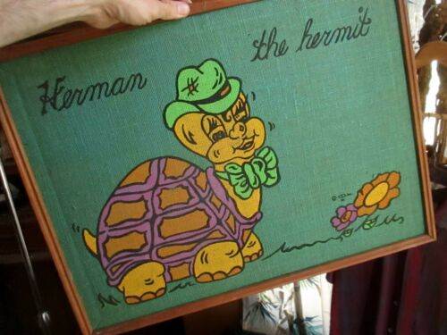 """Vintage 70s 1970 24x18"""" Framed Wall Art Picture HERMAN THE HERMIT TURTLE CREEPY"""