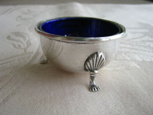 Sterling Silver SALT CELLAR Clam Shell Paw Footed COBALT Blue Glass Liner