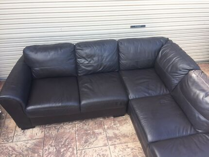 5 Seater  Leather Sofa / Couch + Chaise - THE BERLIN