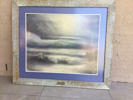 Professionally framed ocean scene - original art