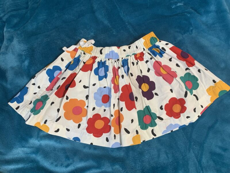 HANNA ANDERSSON GIRLS COTTON FLORAL SKIRT - SIZE 90 (SIZE 3) WHITE WITH FLOWERS