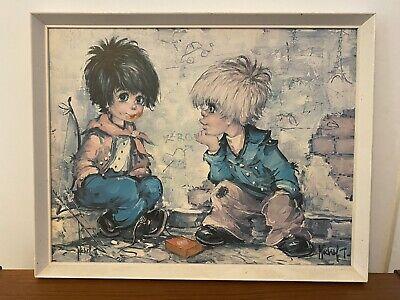 Vintage Painting Kitsch Original 80's Framed