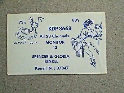 Kenvil New Jersey NJ Kinkel QSL Card Baby Doll Dipper Duck