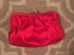 Red Satin Purse / Evening bag with chain strap