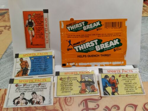 Vtg RARE 1981 American Chewing Gum (6) six Wrappers Topps Thirst Break Sports