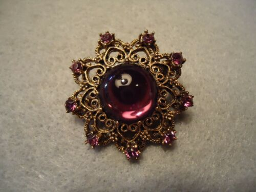Vintage Amethyst Purple Sparkly & Cabochon Rhinestone Filigree Flower Brooch Pin