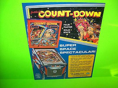 Gottlieb COUNTDOWN Original 1979 Flipper Game Pinball Machine Sales Flyer Adv.